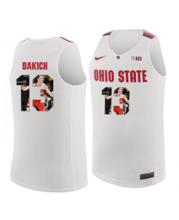 Men's Nike Ohio State Buckeyes 13 Dakich Authentic White Pictorial Fashion Jersey