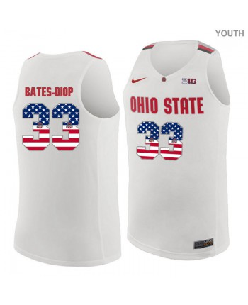 Youth Nike Ohio State Buckeyes 33 Bates-Diop Authentic White US Flag Fashion Jersey