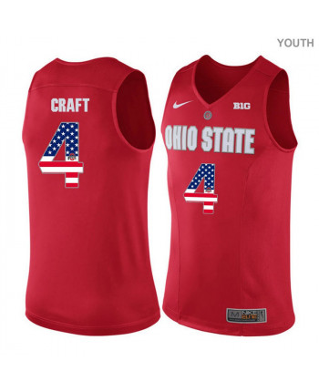 Youth Nike Ohio State Buckeyes 4 Craft Authentic Red US Flag Fashion Jersey